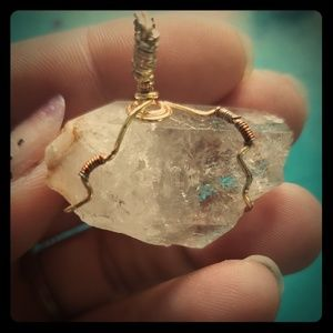 Crystal Clear Quartz wire wrapped with gold/maroon